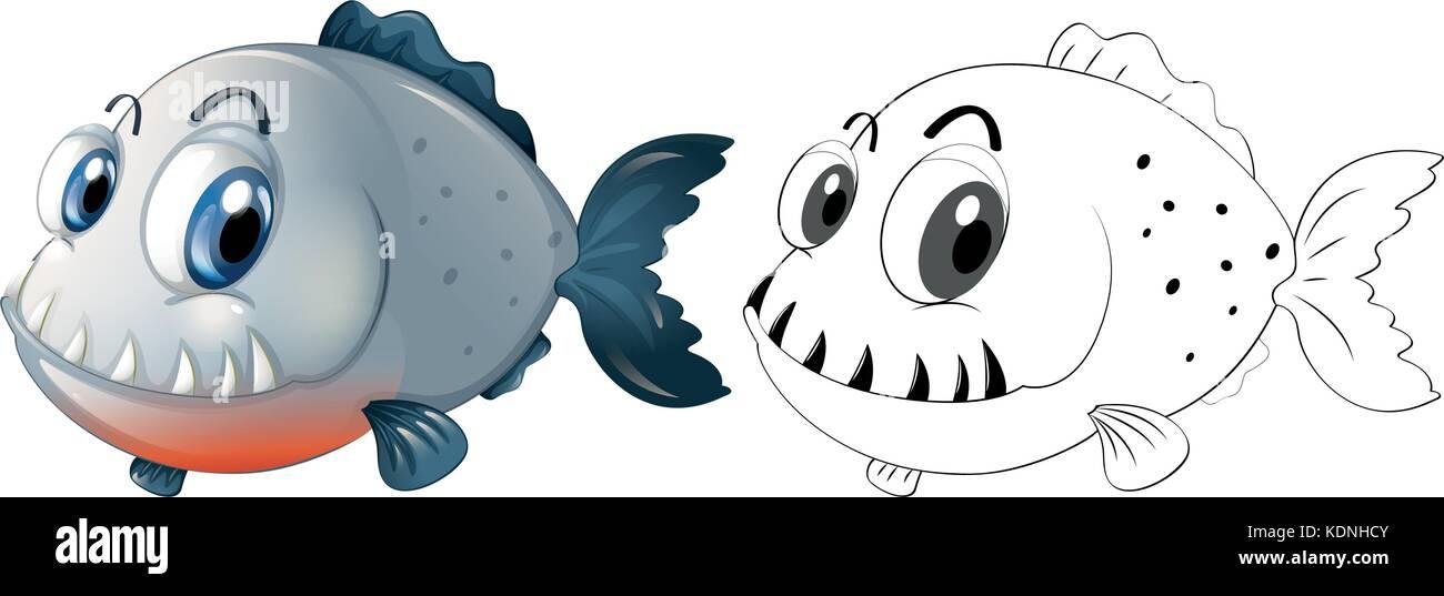 Redacción de animal para pescar pirañas ilustración Ilustración del ...