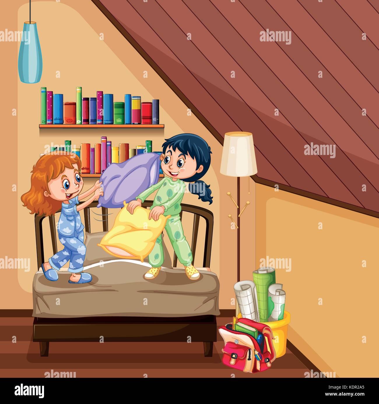 12f4212891 Dos niñas jugando en el dormitorio almohadas ilustración Ilustración ...
