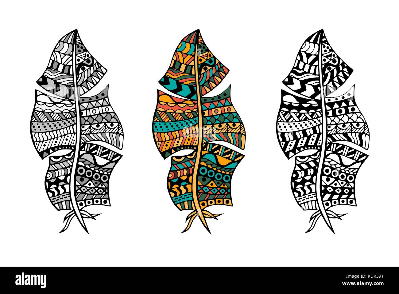 Arte tribal estilizados plumas en color y monocromo para colorear ...