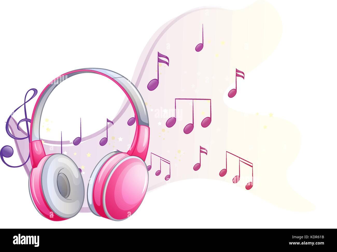 Auriculares De Color Rosa Con Notas Musicales En Ilustración De