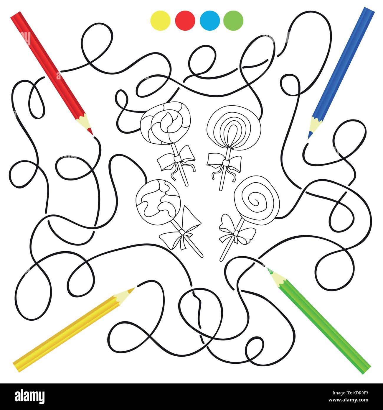Blanco Y Negro Puzzle Lollipop Caramelo De Dibujos Animados Para