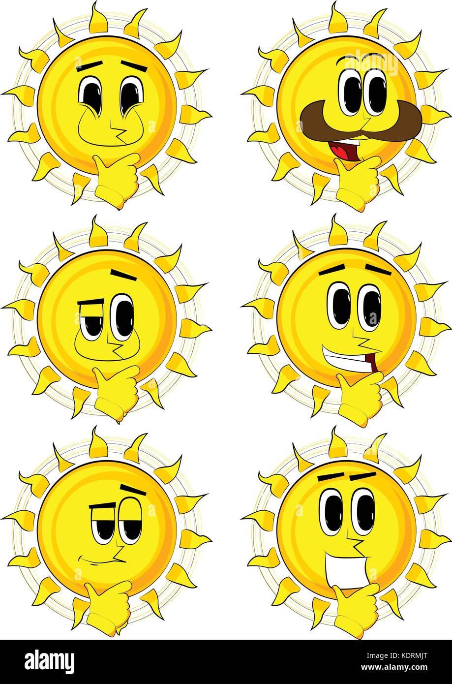 Sun Pensar Colección De Dibujos Animados Con Caras Felices
