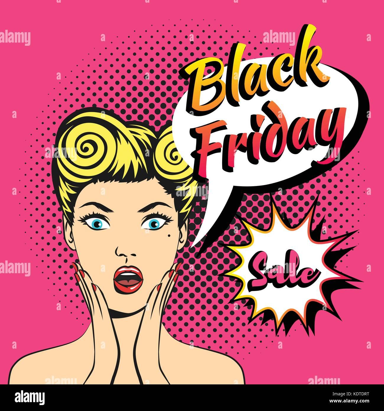 Vector web comic estilo pop art viernes negro banner diseño de ...