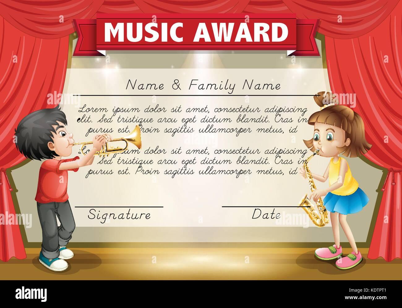 Plantilla de certificado con niños jugando en el escenario musical ...