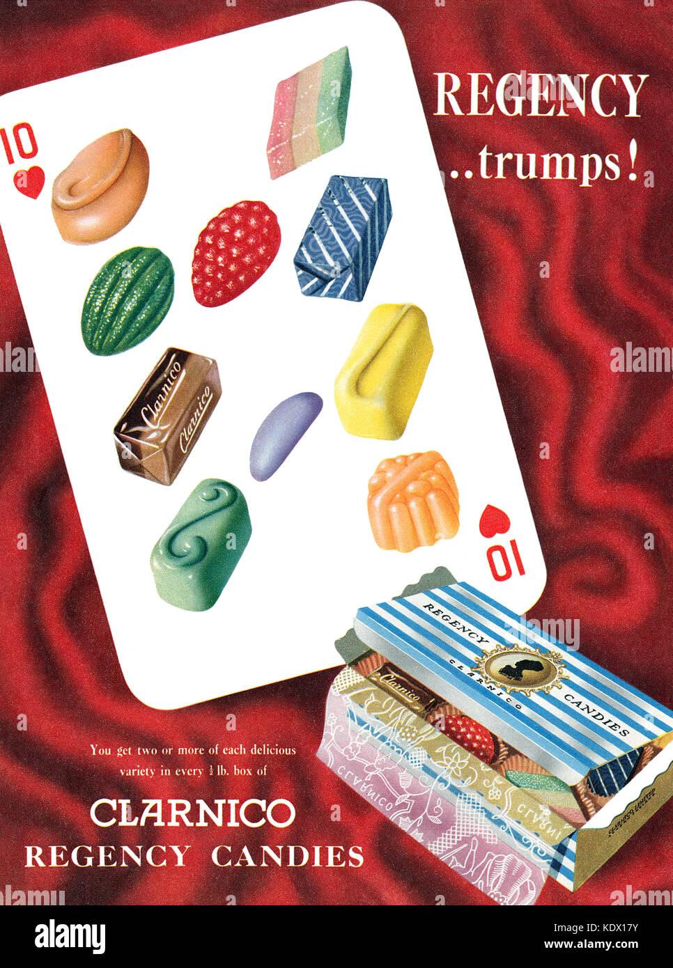 1955 anuncio británico para Clarnico Regency caramelos. Imagen De Stock