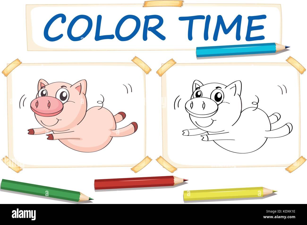 Plantilla para colorear con lindo cerdo ilustración Ilustración del ...