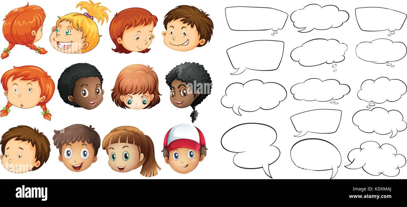 Niños y bocadillo de diálogo Plantillas ilustración Ilustración del ...