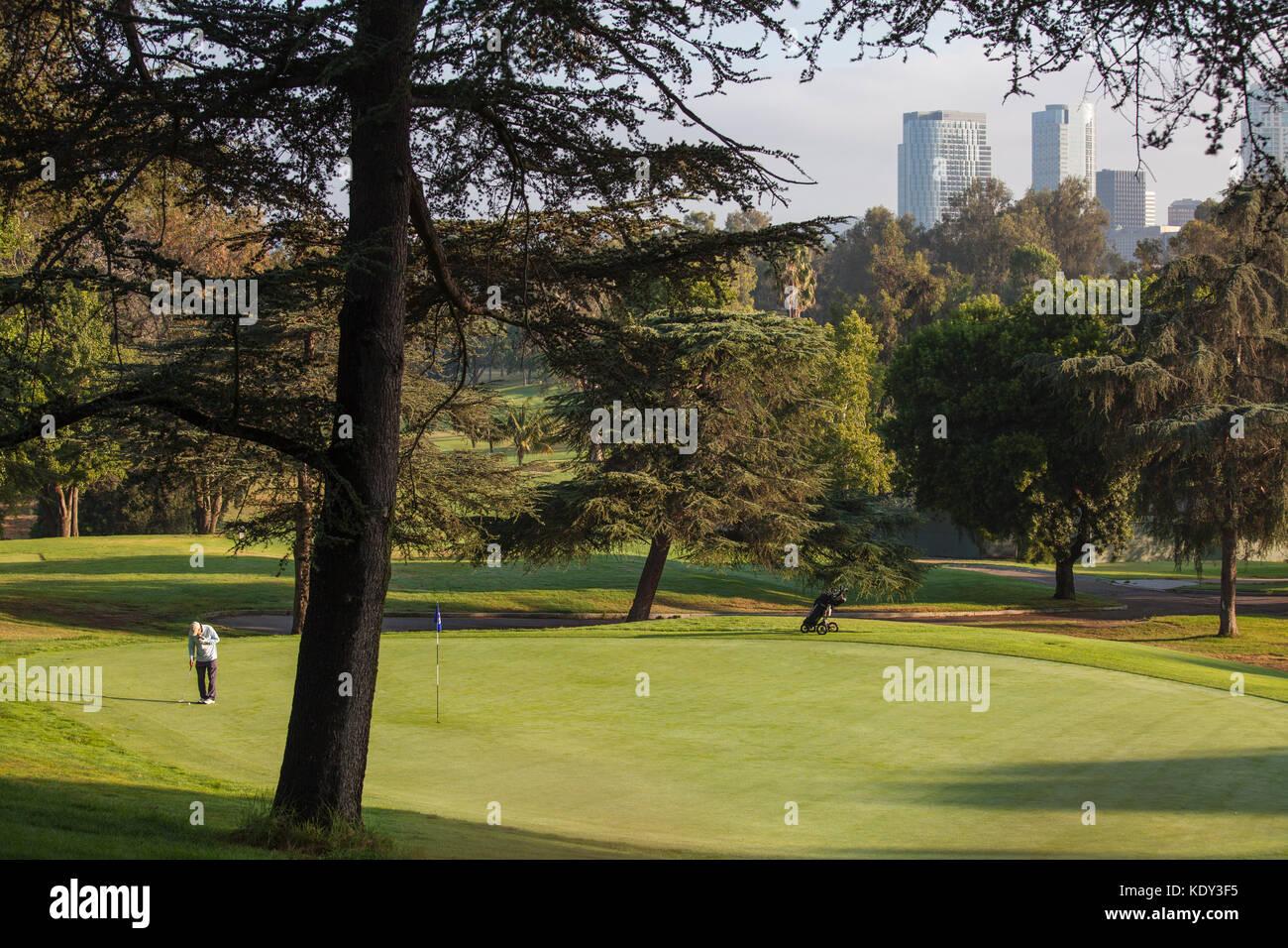 Rancho Park Golf Course, campos de golf y paisajismo son uno de los principales usuarios del agua. Los Ángeles, California, Estados Unidos. Foto de stock