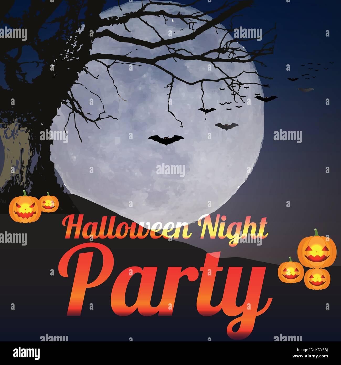 La noche de Halloween Party telón de fondo vector ilustración poster postal papel tapiz o cualquier material Imagen De Stock