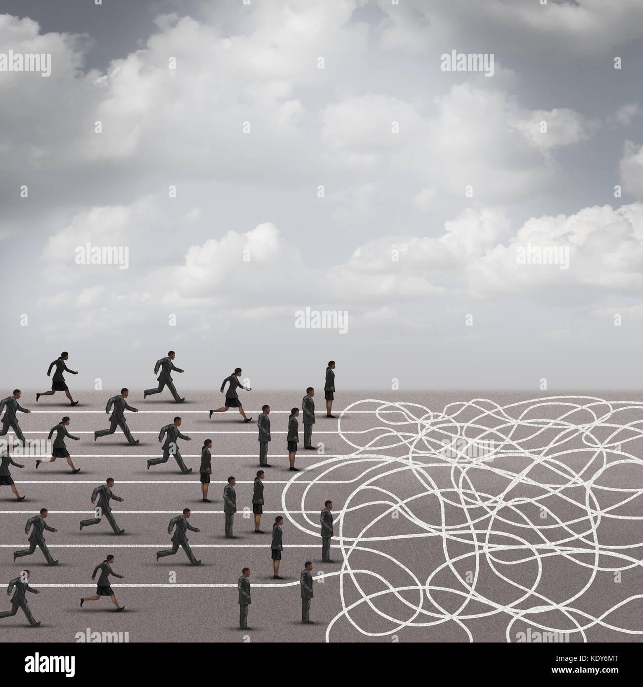 Concepto de negocio crisis difíciles elecciones en 3D de una ilustración de estilo. Imagen De Stock