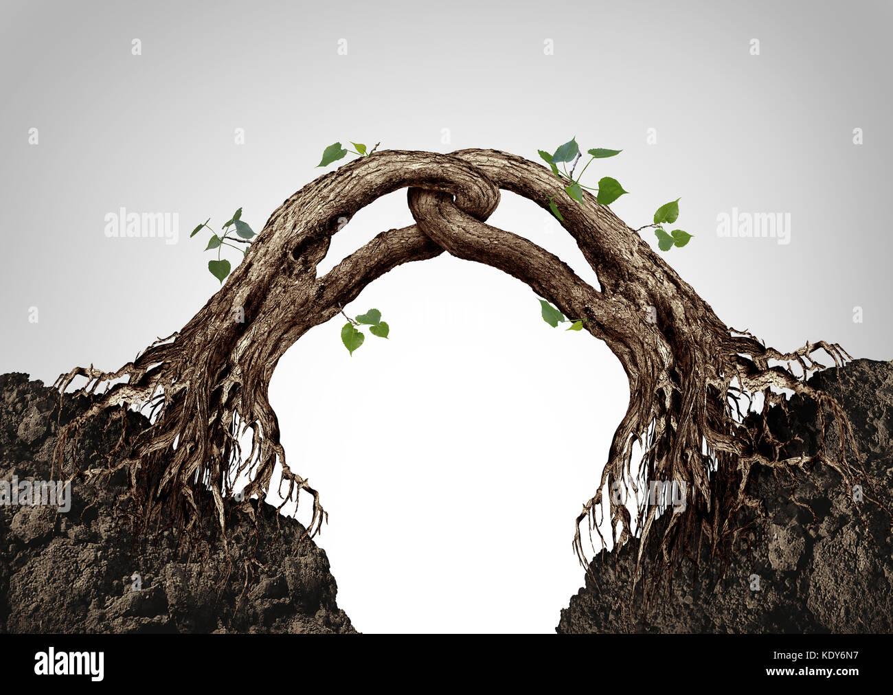 Conectados juntos concepto y símbolo de sinergia como dos árboles de fusión y ligados en una cadena Imagen De Stock