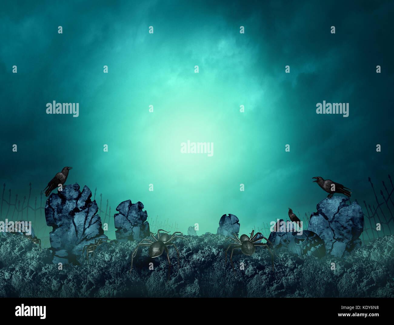 Spooky cementerio oscuro y sombrío cementerio como creepy haunted entierro graves antecedentes en la noche Imagen De Stock