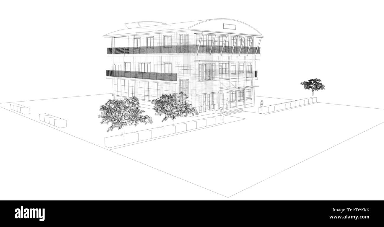 Dibujo 3d Oficina Del Edificio Foto Imagen De Stock 163491991 Alamy
