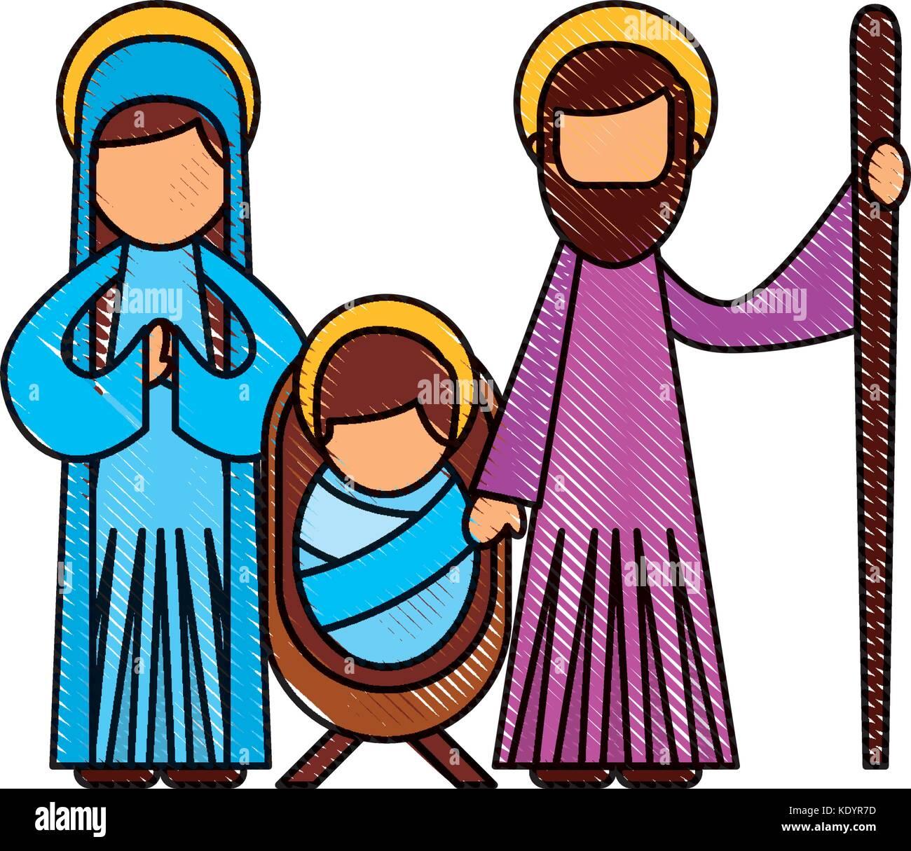 Navidad Escena De La Natividad De La Sagrada Familia De