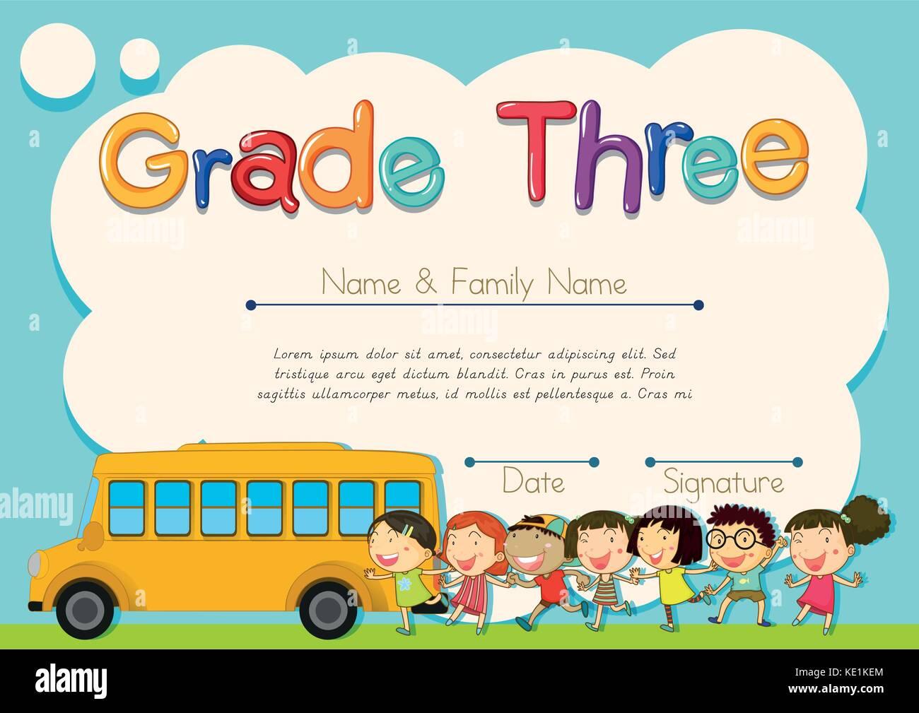 Los alumnos de cuarto grado diploma con schoolbus y niños ...
