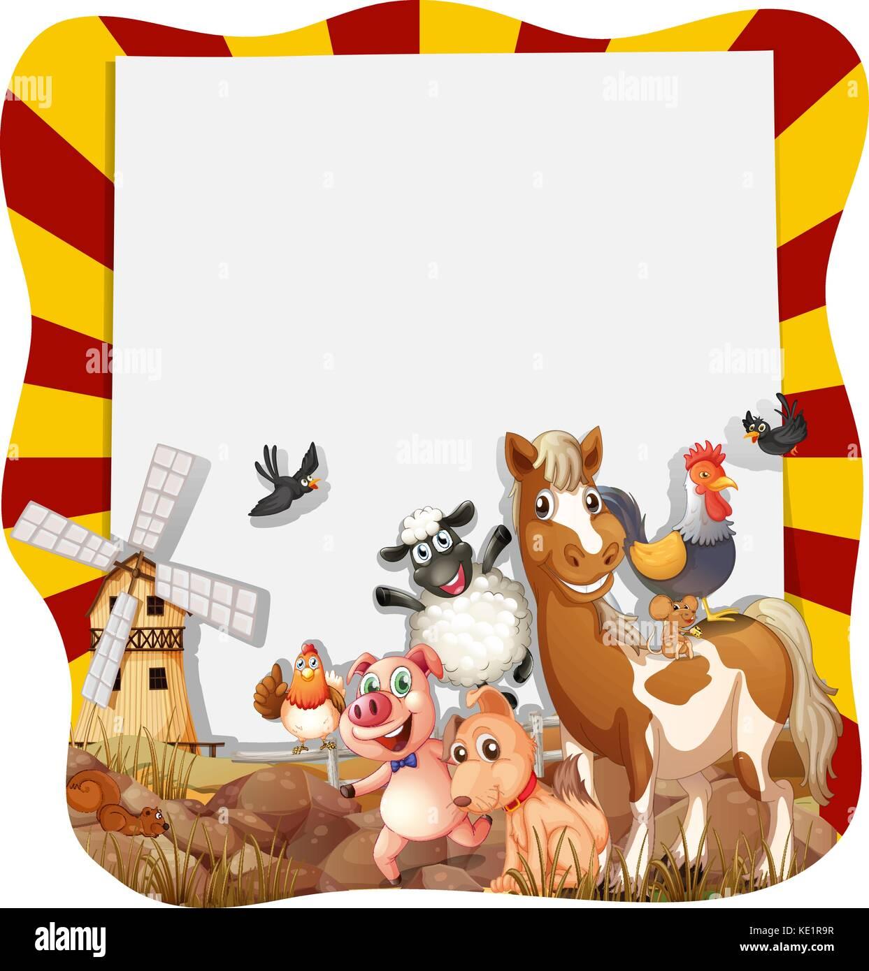 Los animales de granja en torno al marco ilustración Ilustración del ...