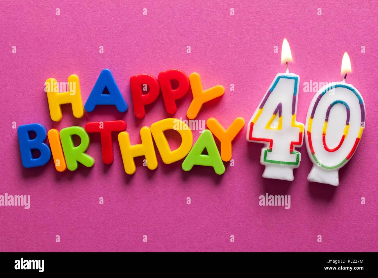 Imagenes De Cumpleanos Numero 40.Feliz Cumpleanos Numero 40 Celebracion Vela Foto Imagen De