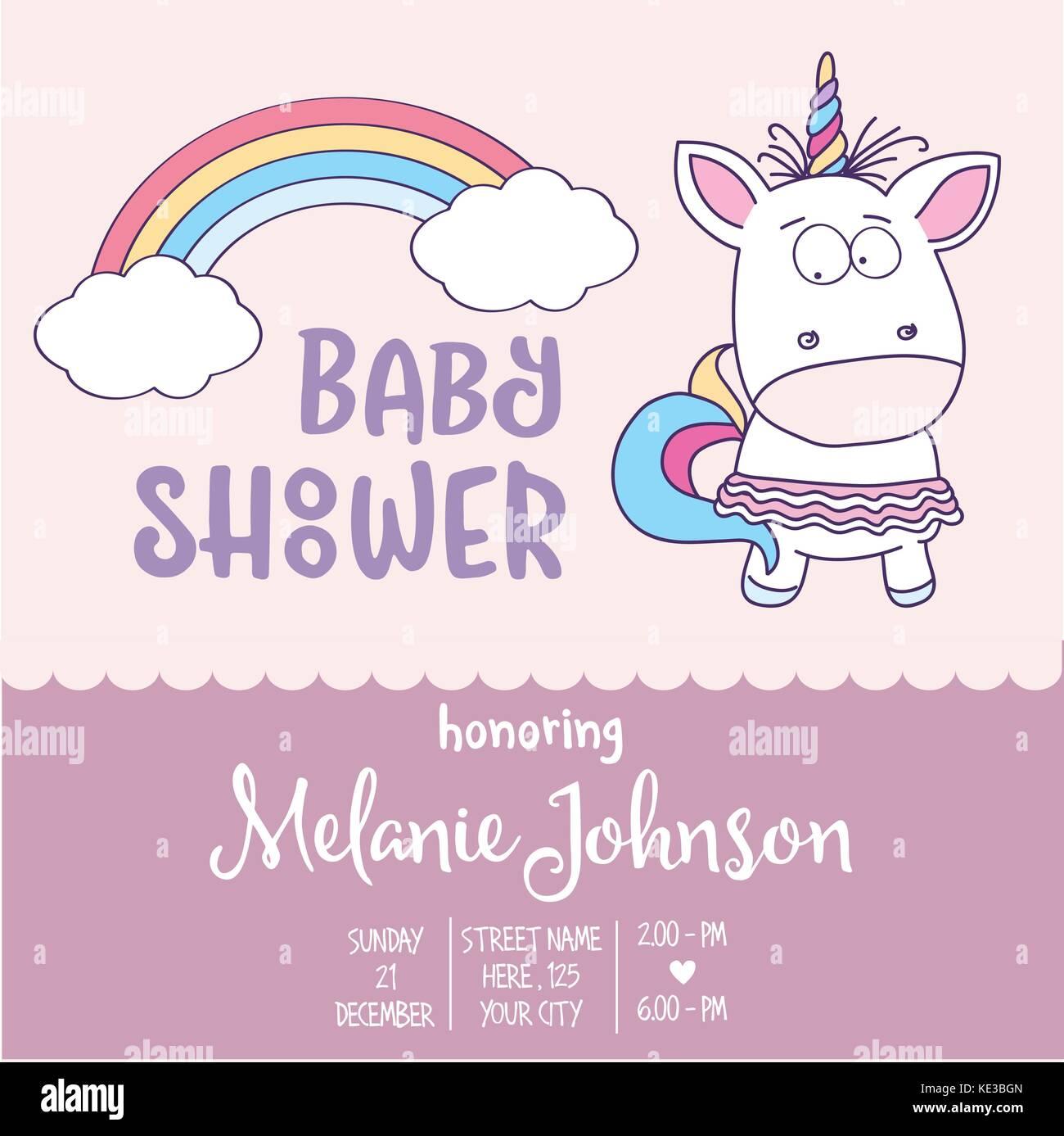 Plantilla De Tarjeta De Baby Shower Hermoso Con Lovely Baby