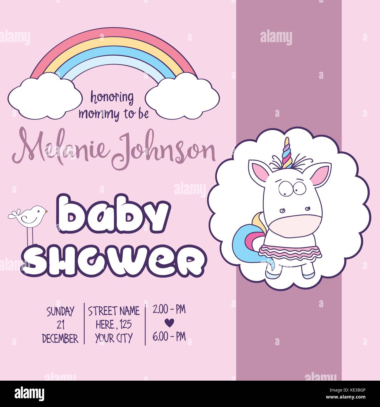 Plantilla De Tarjeta De Baby Shower Hermoso Con Una