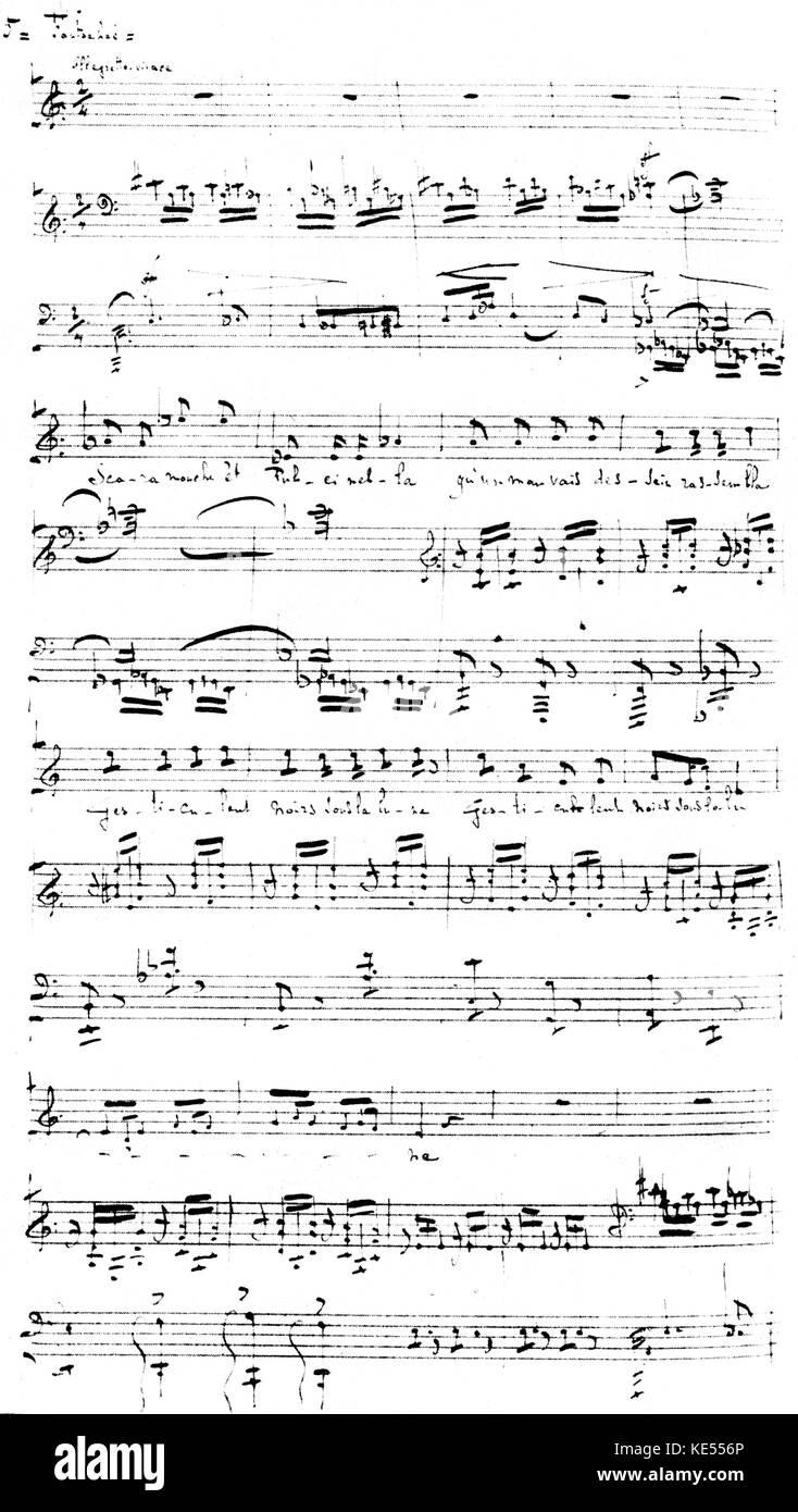 """Claude Debussy 's 'Fantoche' del ciclo de canciones """"Les fêtes galantes (fiestas galantes), basada en un poema de Paul Verlaine. Puntuación manuscritos escritos a mano, publicado en 1903. El compositor francés, el 22 de agosto de 1862 - 25 de marzo de 1918. Foto de stock"""