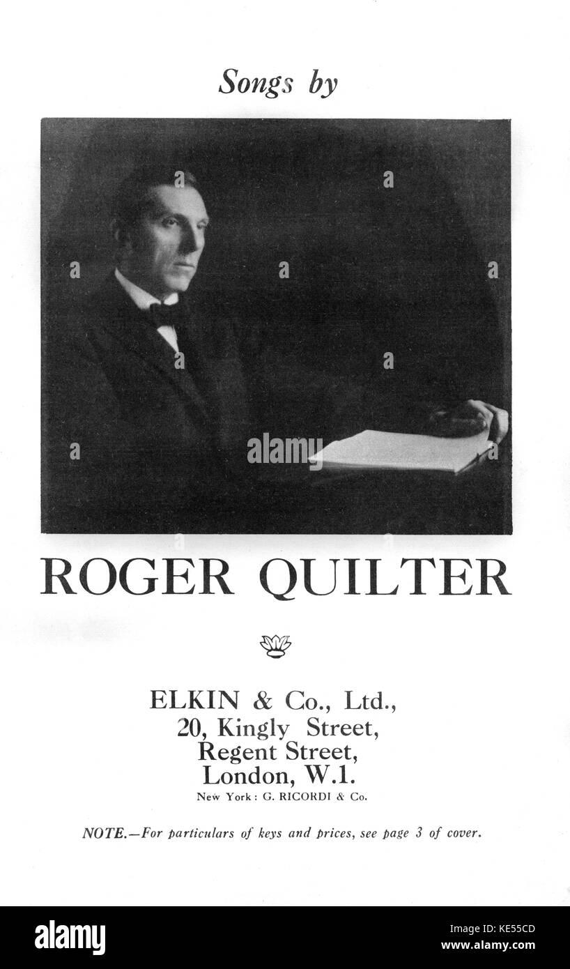 Roger quilter compositor inglés, canción de portada de folleto, 'canciones por rger quilter. publicado Imagen De Stock