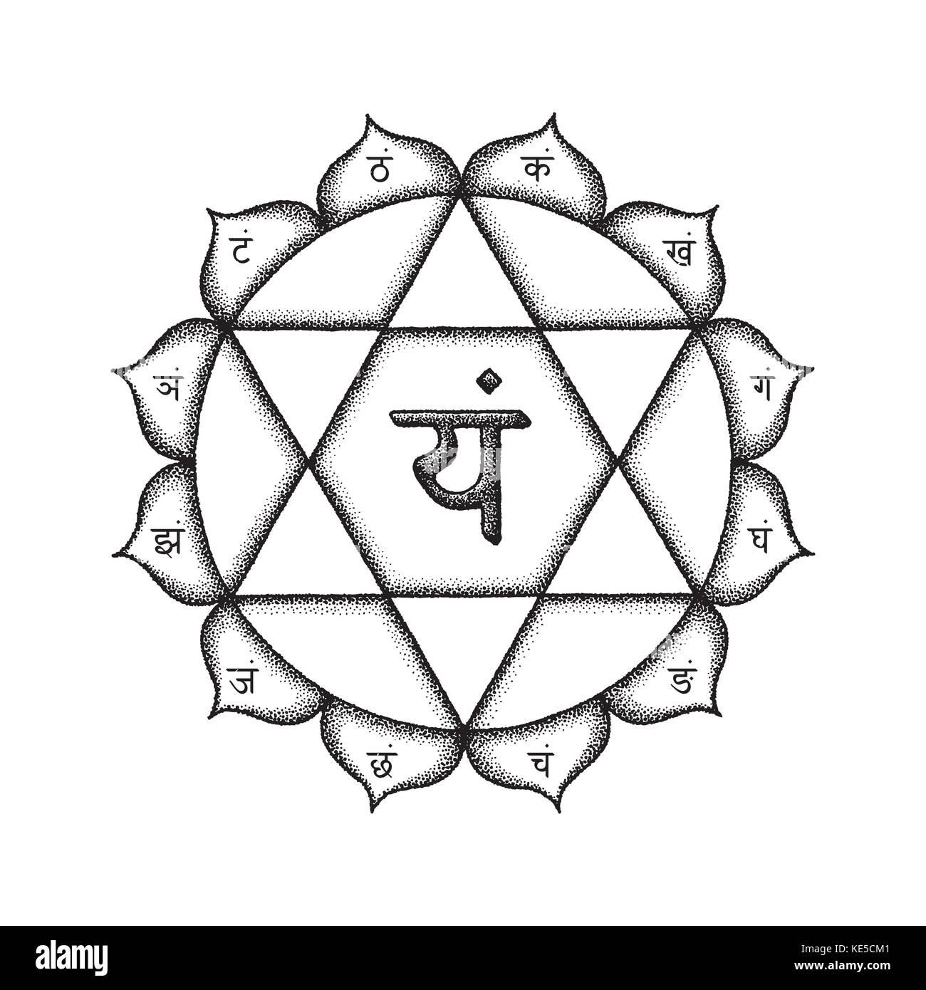 Vector cuarto chakra anahata corazón sánscrito mantra yam hinduismo ...