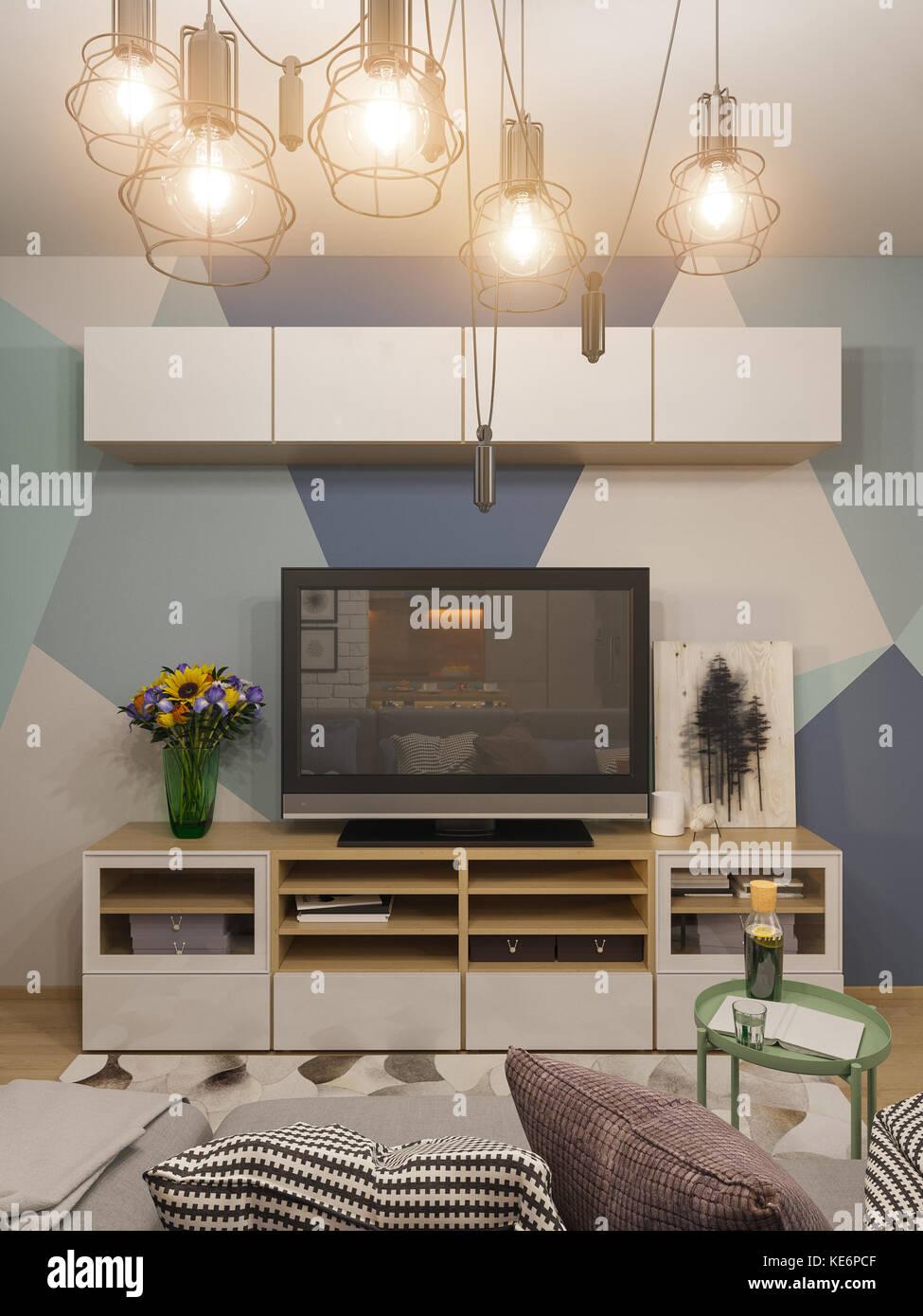 Ilustración 3d salón interior. Diseño moderno apartamento estudio en ...