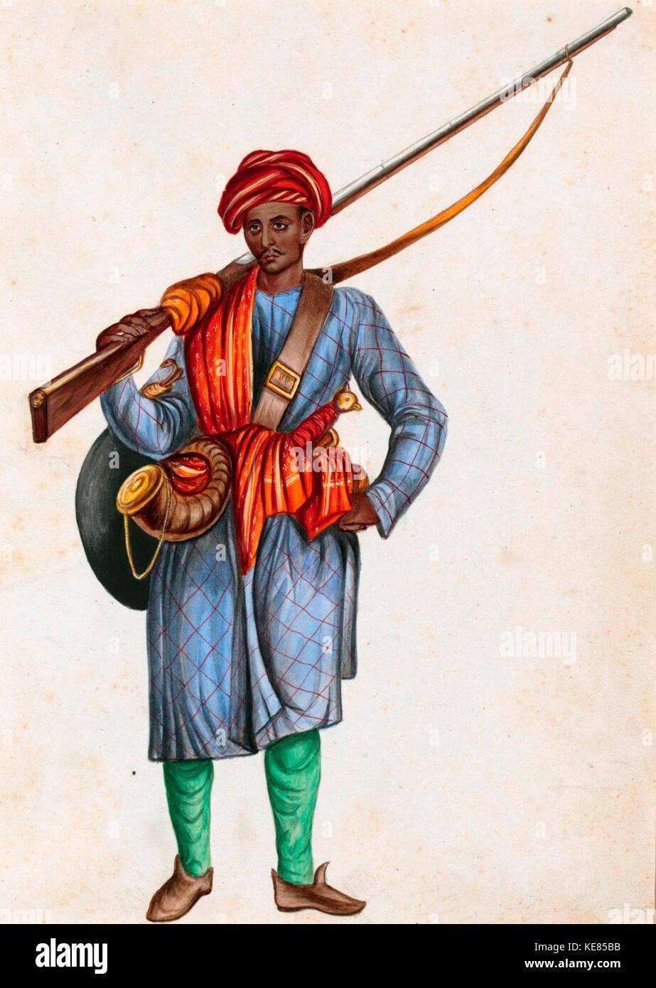 Una pintura de un soldado de infantería de Mughal, circa 1850 Imagen De Stock