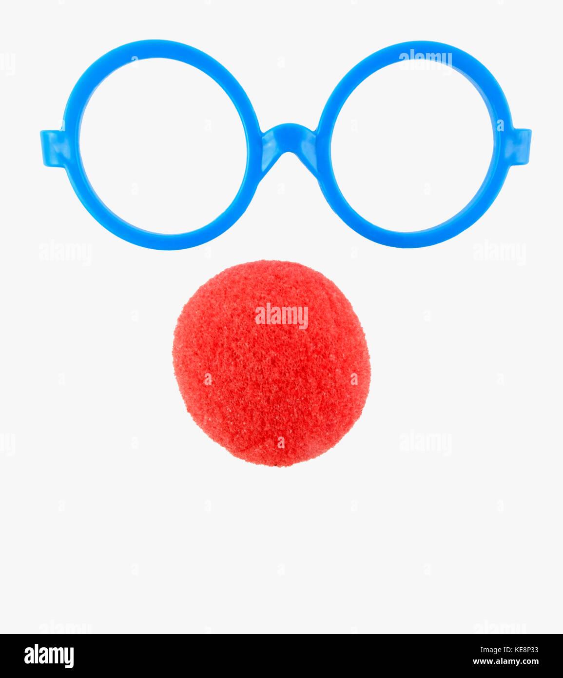 Simples gafas de plástico azul y rojo marcos nariz de payaso espuma ...