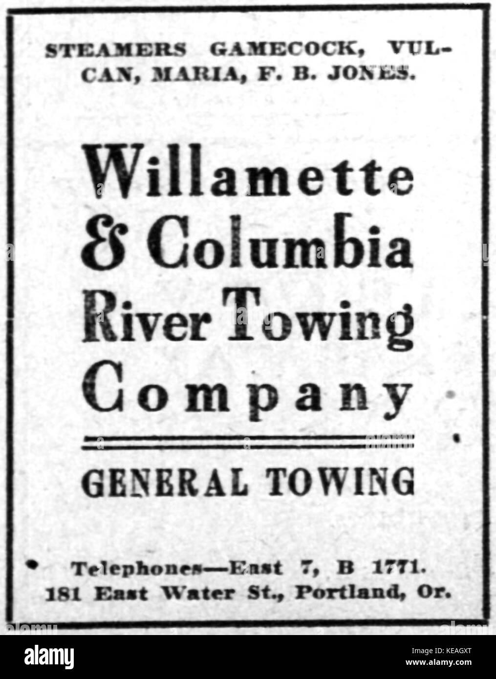 Y Columbia Willamette Tow Co ad 04 Feb 1911 Foto de stock