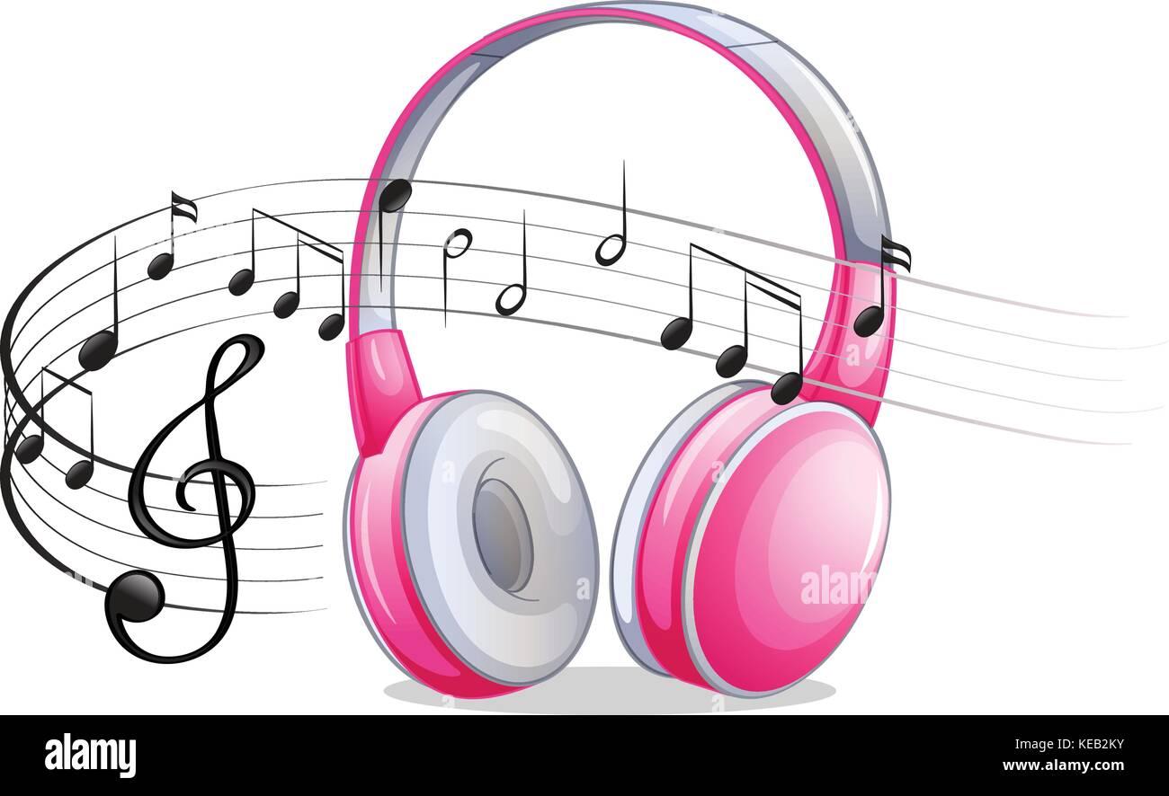 Auriculares De Color Rosa Con Notas Musicales Ilustración Del Vector