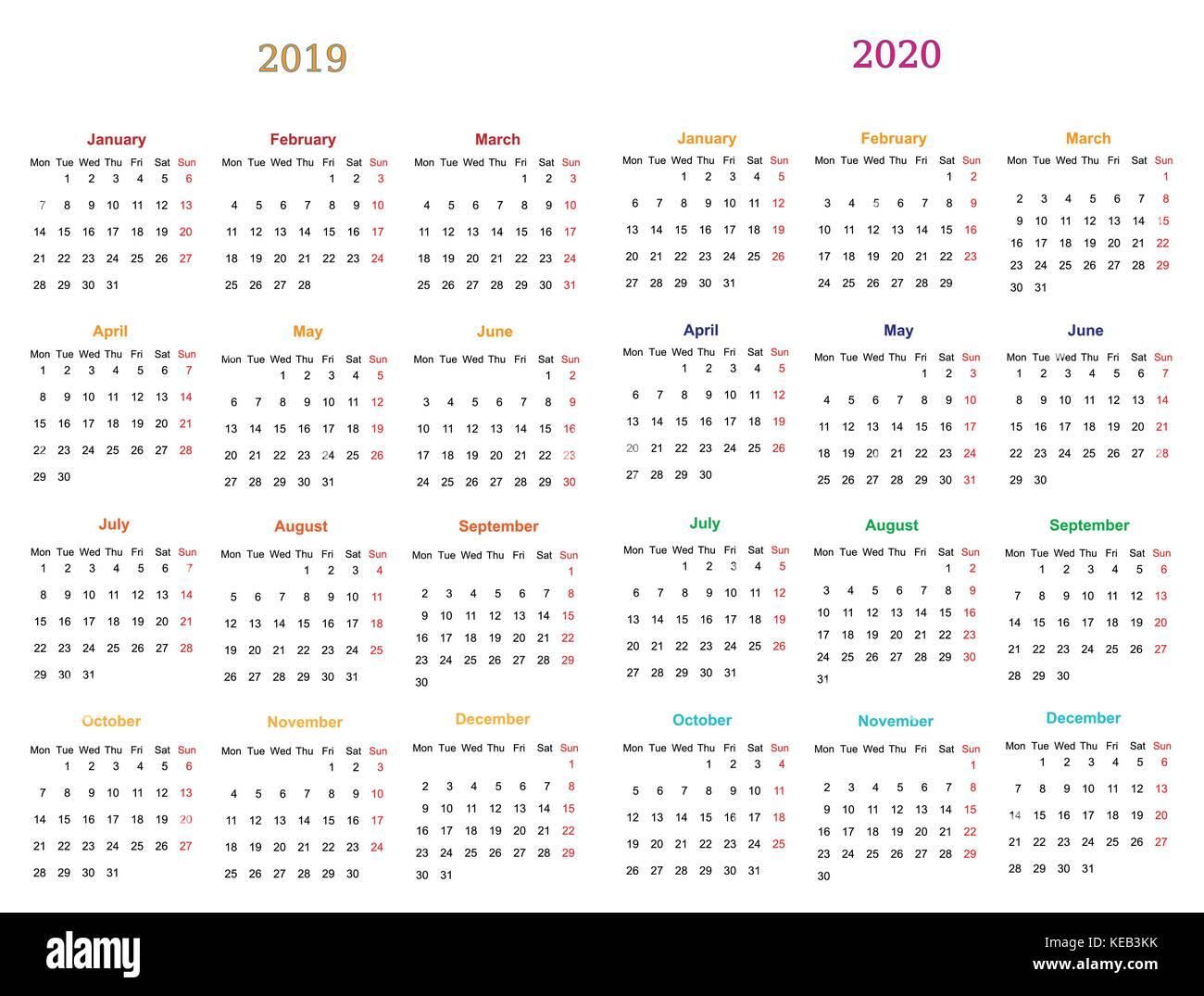 Calendario 2020 Y 2019.Diseno De Calendario 2019 2020 12 Meses Imprimibles Y Editables