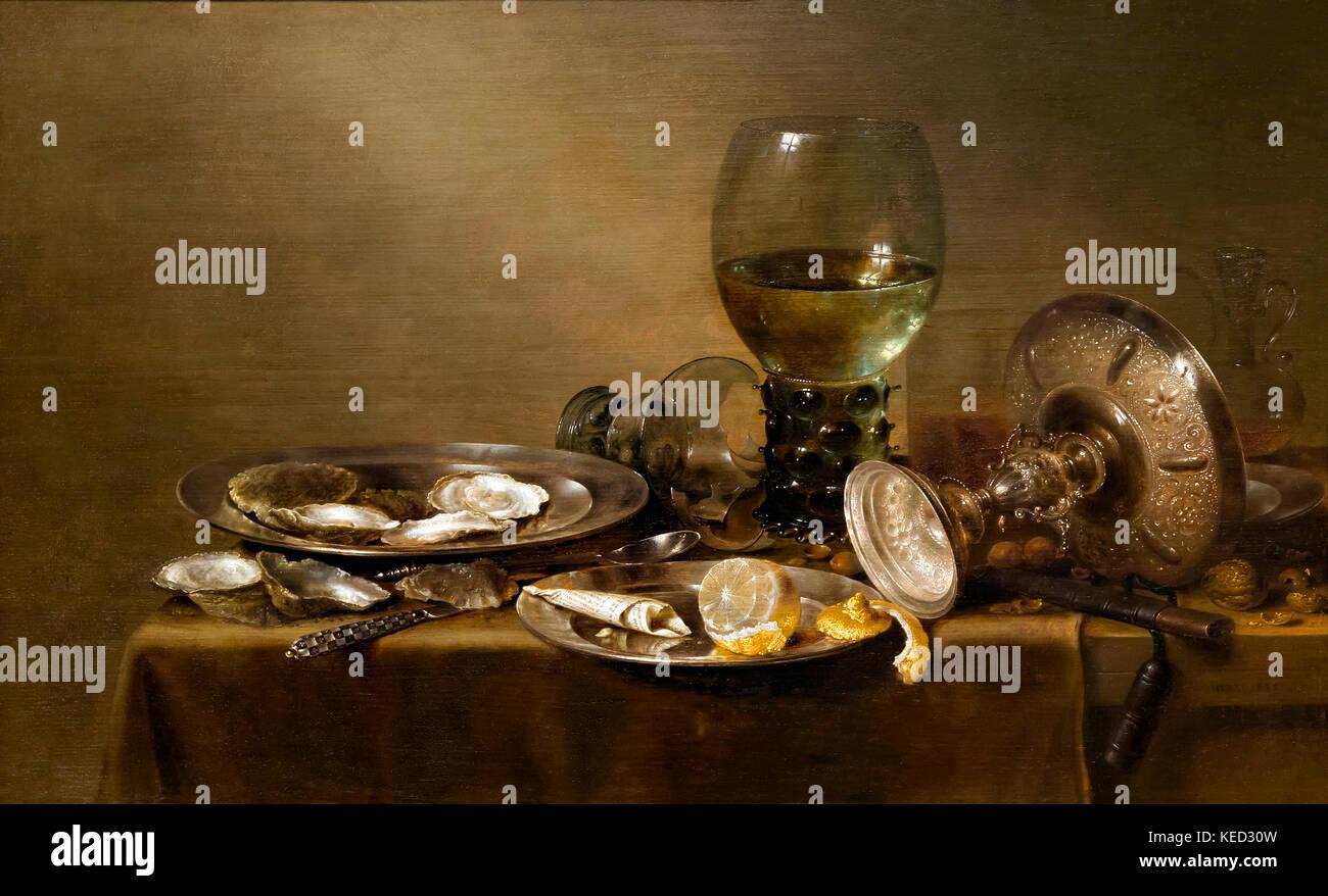Bodegón con ostras, una de plata y cristalería tazza, Willem Claesz Heda, 1635, Museo Metropolitano de Imagen De Stock