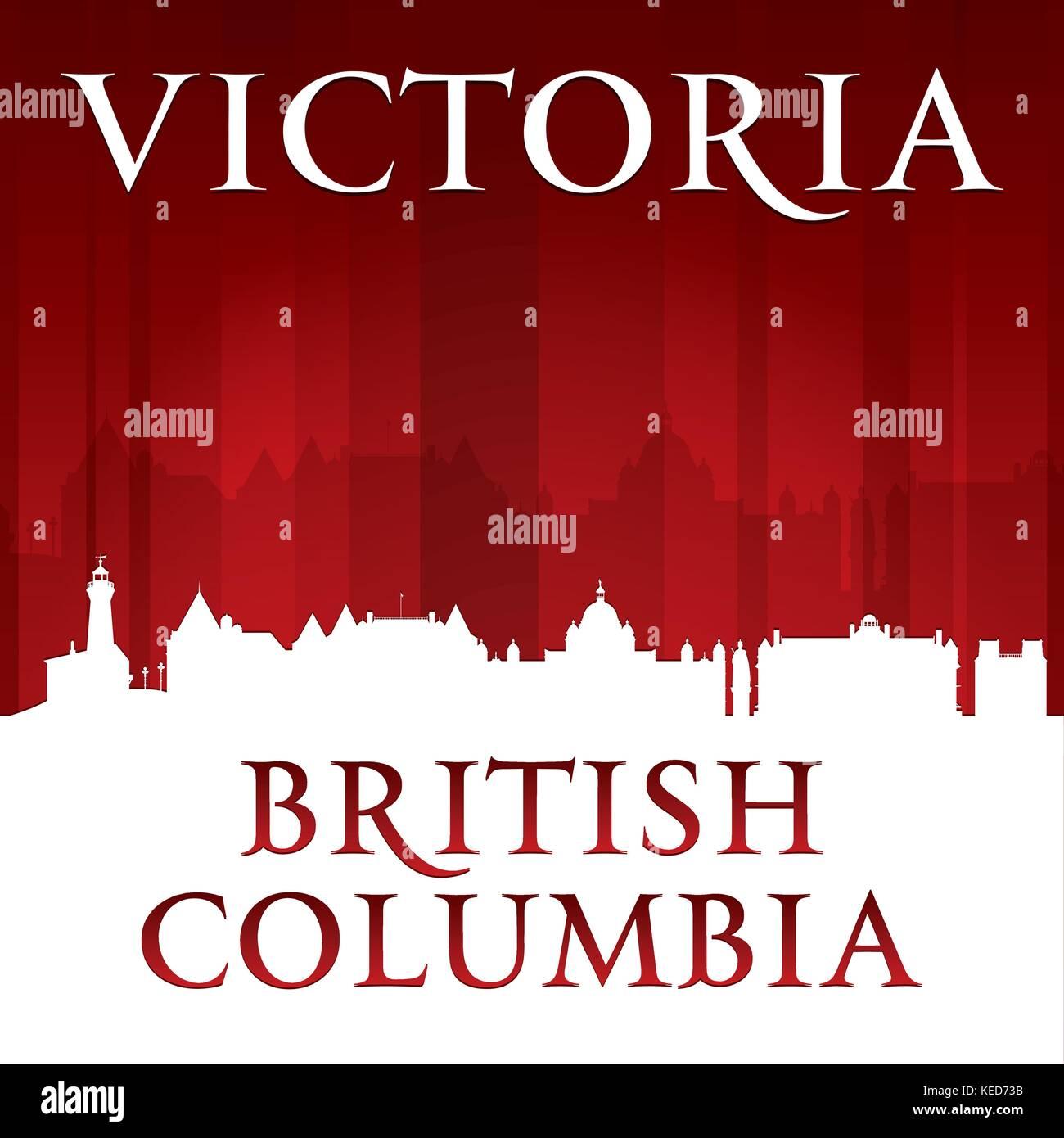 Victoria, Columbia Británica, Canadá ciudad de silueta. Ilustración vectorial Imagen De Stock