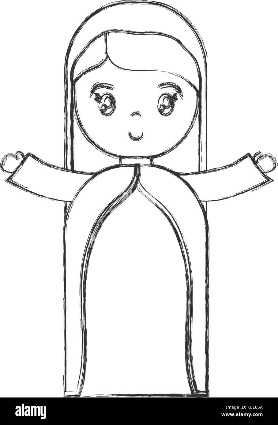 El Icono De La Virgen María Dibujos Animados Ilustración Del