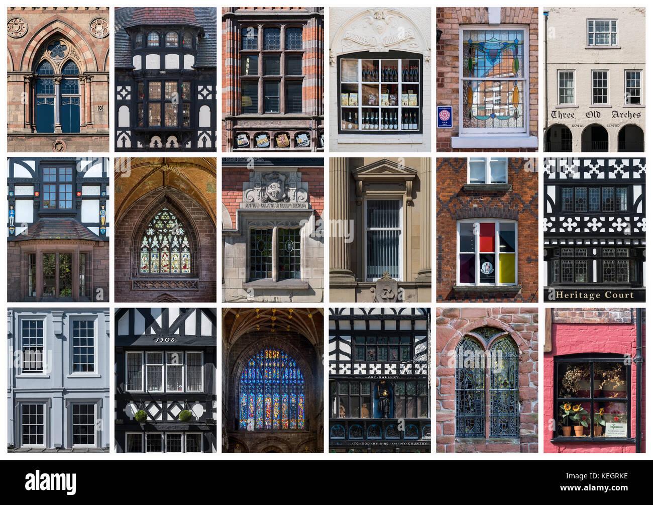 Montaje de ventanas diferentes en la ciudad de Chester, Cheshire, Inglaterra, Reino Unido. Imagen De Stock