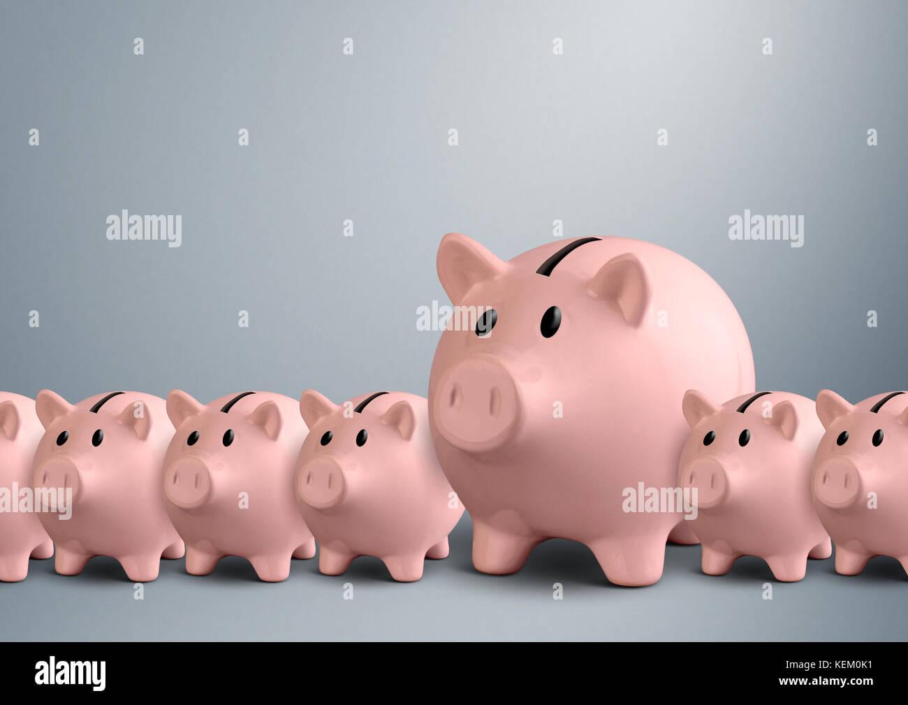Hucha en una fila, el mejor concepto de banco con espacio de copia Imagen De Stock