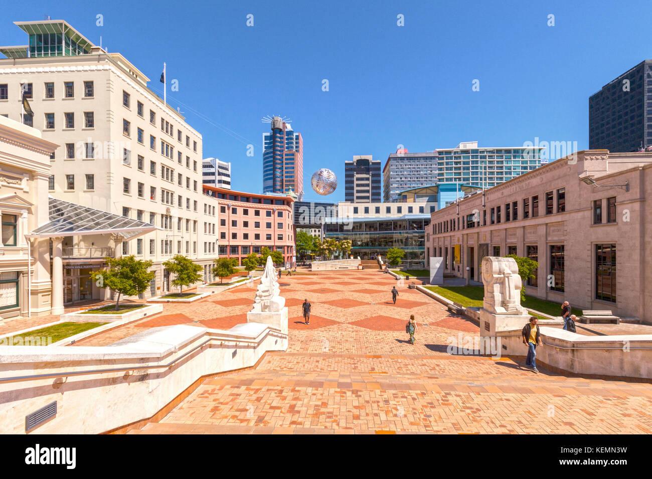 Vista de la plaza cívica, Wellington, Nueva Zelanda. Imagen De Stock