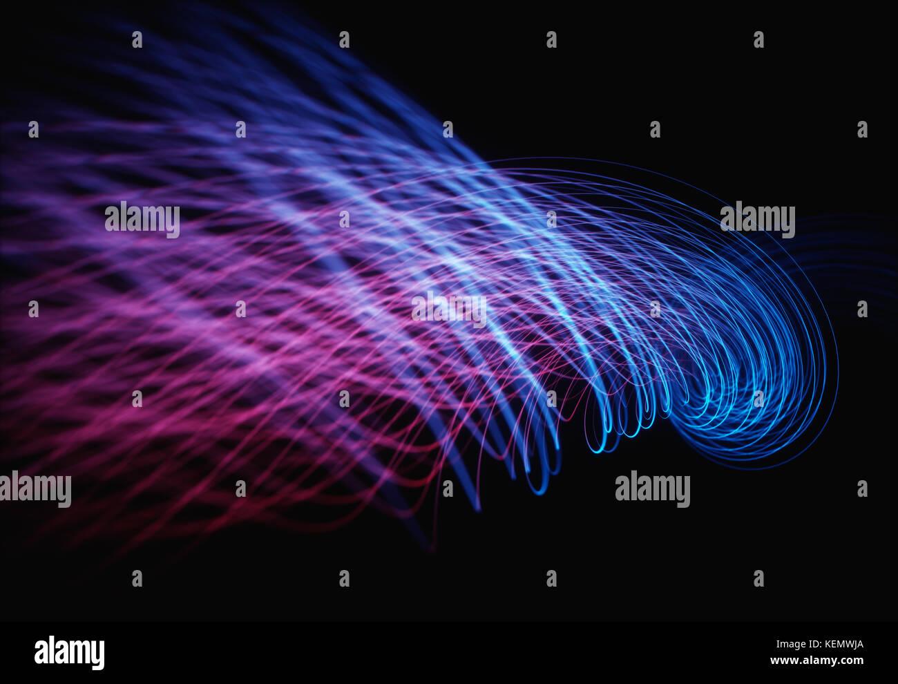 Ilustración 3d, líneas de energía que representan datos que pasan a través de la cloud computing. Imagen De Stock