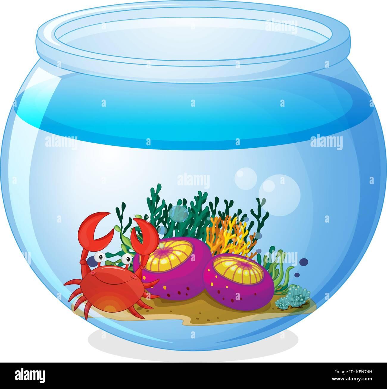 Ilustración de un acuario con las criaturas del mar sobre un fondo ...