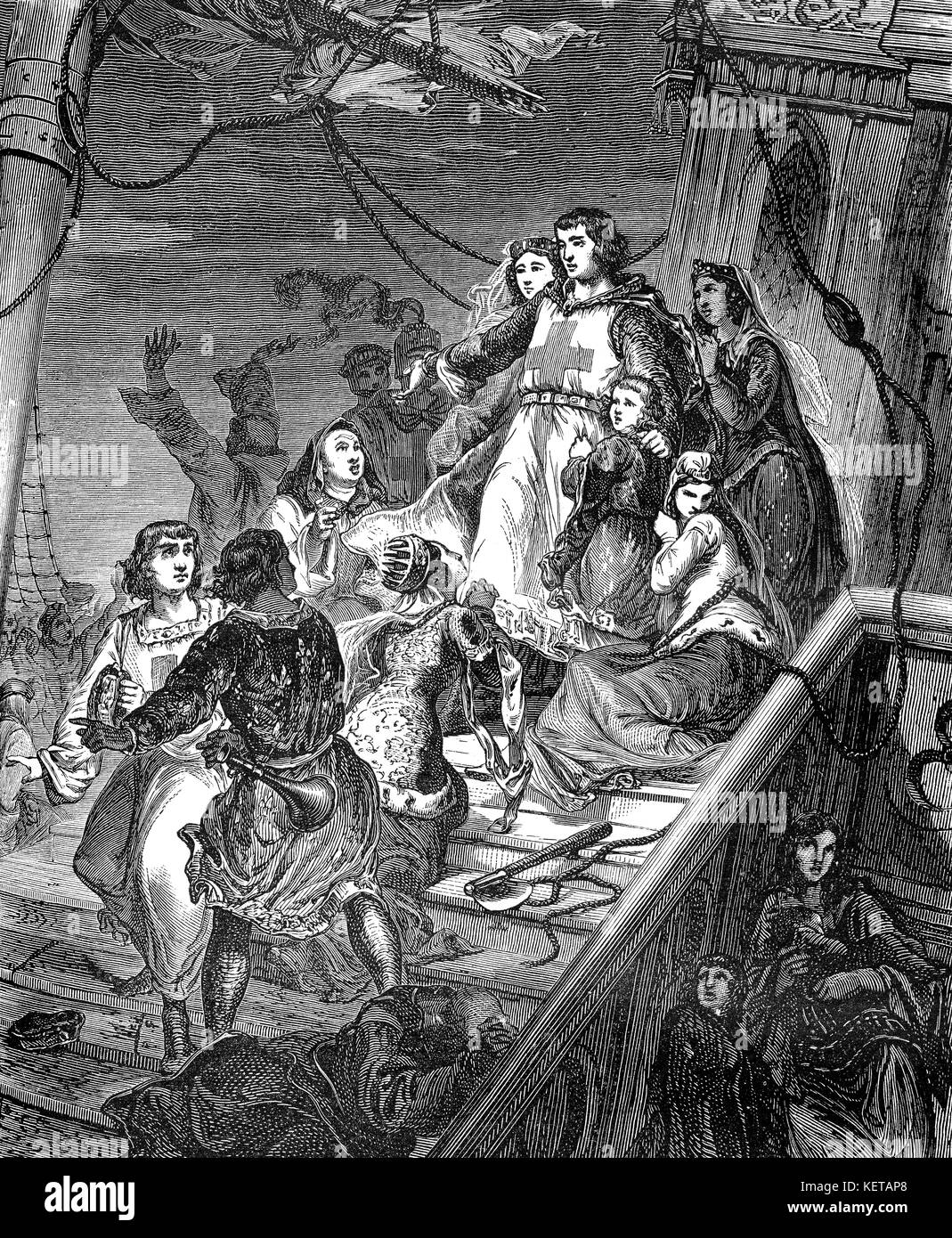 La salida de Aigues-Mortes del rey Luis IX para la Séptima Cruzada Foto de stock