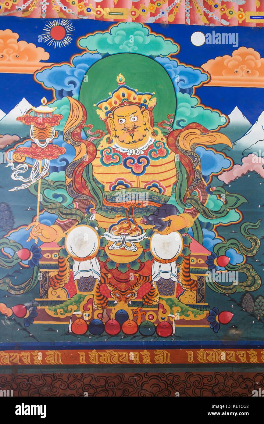 Detalles de las pinturas coloridas en monasterio palphug taktsang (Tiger's Nest) paro valle Bután asia Foto de stock