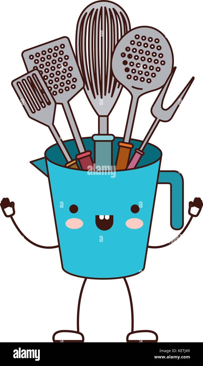 Jarra Con Utensilios De Cocina Colorida Silueta De Dibujos