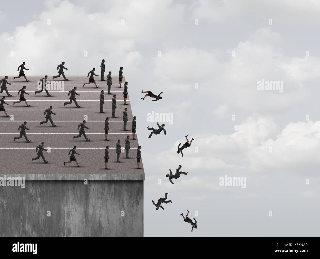 El temor al fracaso y limitadas oportunidades de negocios o de trabajo o de carrera de obstáculos como empresaria y el empresario, Ejecución y parada. Foto de stock