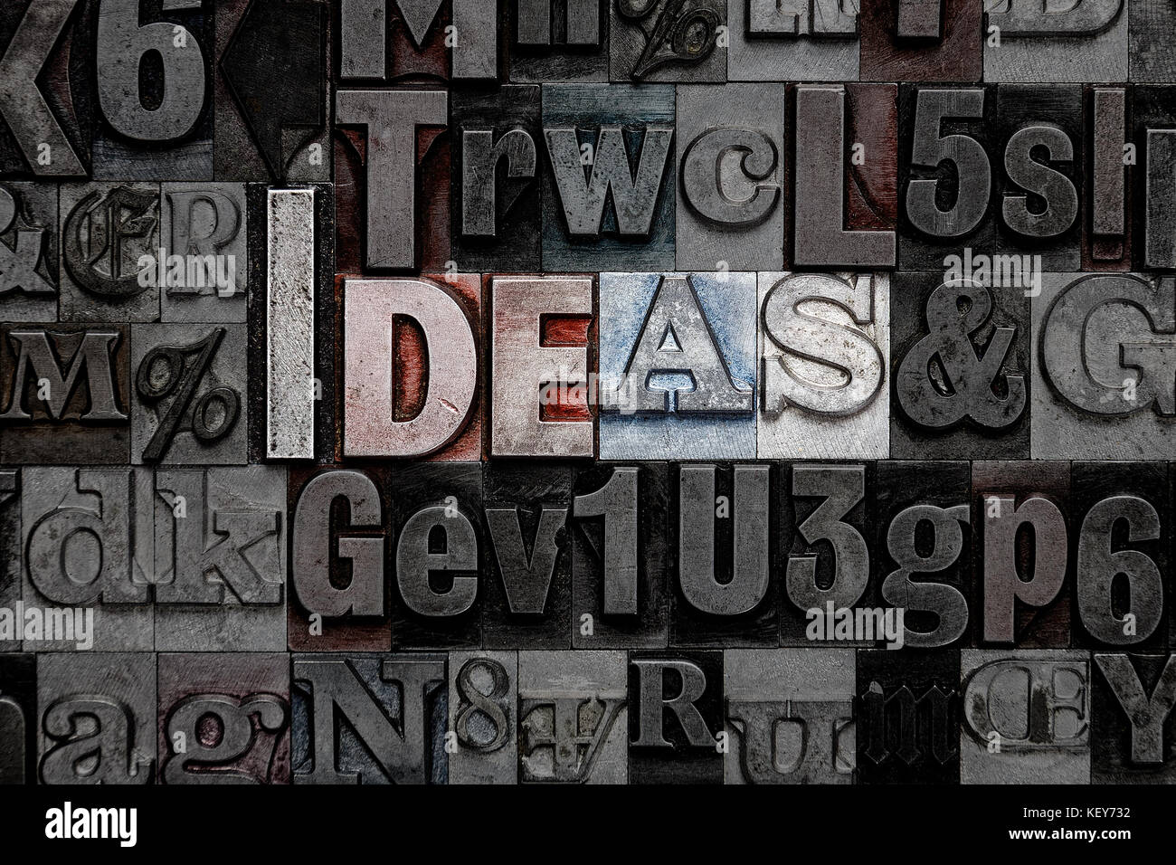 La palabra ideas hechas de metal viejo tipografía letras Imagen De Stock