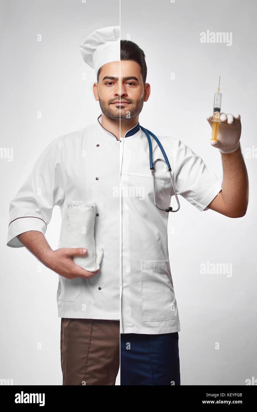 Foto combinada de un chef y médico Imagen De Stock