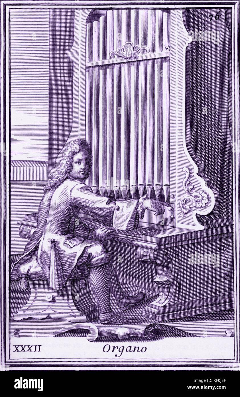 Órgano del órgano reproductor de bonanni gabinetto armonico, publicado en 1723. Ilustración 32 organo Imagen De Stock