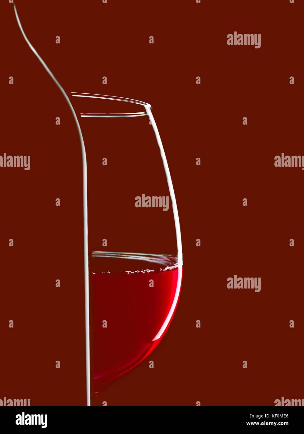 Silueta elegante botella de vino tinto y vidrio sobre fondo negro. Contorno con gradiente y destacados Imagen De Stock