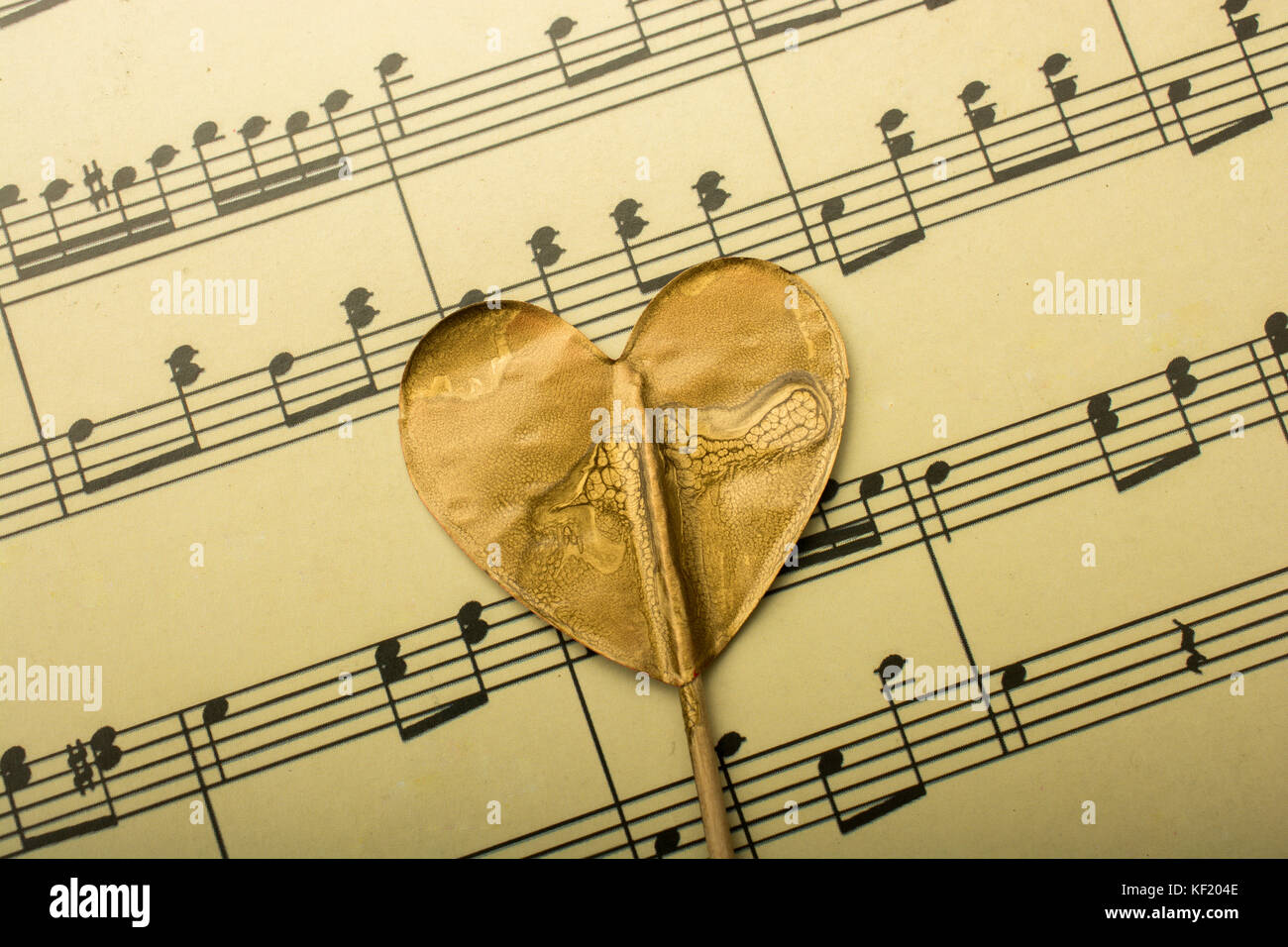 Notas Musicales Y El Icono En Forma De Corazón Foto Imagen De