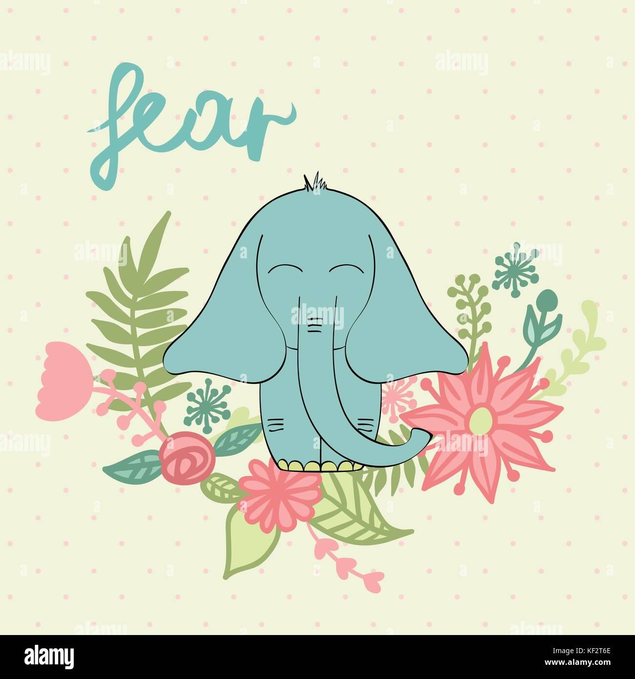 Vector de elefante de dibujos animados Ilustración del Vector